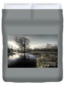 Winter Tree On The River Culm Duvet Cover