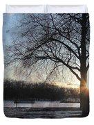 Winter Tree Sunset Duvet Cover