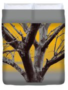 Winter Trees In Yellow Gray Mist 2 Duvet Cover