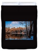 Winter Trees Lake Reflected Duvet Cover