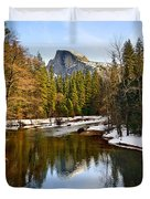 Winter View Of Half Dome In Yosemite National Park. Duvet Cover by Jamie Pham