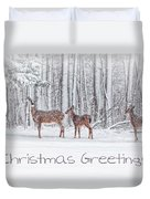 Winter Visits Card Duvet Cover