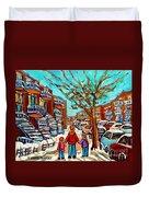 Winter Walk Montreal Paintings Snowy Day In Verdun Montreal Art Carole Spandau Duvet Cover