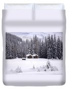 Forest Snow Blanketed Privies - Winter In Banff, Alberta Duvet Cover