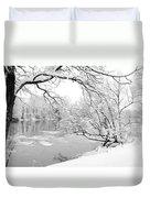Winter Wonderland In Black And White Duvet Cover