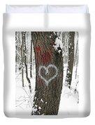 Winter Woods Romance Duvet Cover
