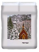 Winter Yosemite Chapel Duvet Cover