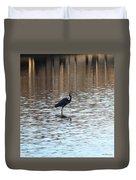 Winter's Blue Heron Duvet Cover