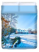 Winters Day Photo Art From The Fence Duvet Cover