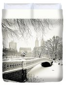 Winter's Touch - Bow Bridge - Central Park - New York City Duvet Cover