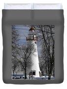 Wintry Lighthouse Duvet Cover
