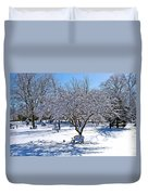 Wintry Day At The Park Duvet Cover