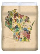 Wisconsin Map Vintage Watercolor Duvet Cover