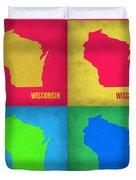 Wisconsin Pop Art Map 1 Duvet Cover