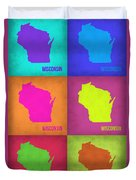 Wisconsin Pop Art Map 2 Duvet Cover