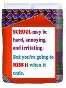 Wisdom Quote School Collage Artistic  Background Designs  And Color Tones N Color Shades Available F Duvet Cover