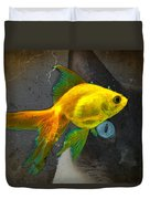 Wishful Thinking - Cat And Fish Art By Sharon Cummings Duvet Cover