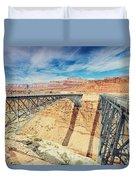 Wispy Clouds Over Navajo Bridge North Rim Grand Canyon Colorado River Duvet Cover