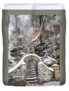 Wissahickon Steps In The Snow Duvet Cover