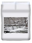 Wissahickon Waterfall In Winter Duvet Cover