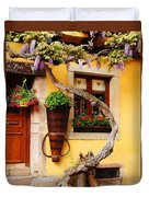 Wisteria And Yellow Wall In Alsace France Duvet Cover