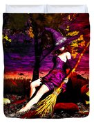 Witch In The Pumpkin Patch Duvet Cover