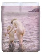 With Mother Duvet Cover by Anders Leonard Zorn