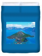 Wizard Island From Watchman Overlook In Crater Lake National Park-oregon  Duvet Cover