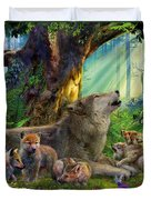 Wolf And Cubs In The Woods Duvet Cover