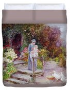 Woman And Child In A Cottage Garden Duvet Cover