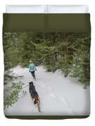 Woman And Dog Walking In Forest Duvet Cover