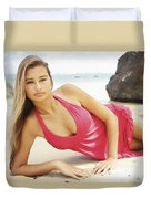 Woman At Anini Bay Duvet Cover by Kicka Witte
