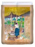 Woman Beating Cassava Jamaica Duvet Cover