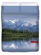 Woman Canoeing In Wonder Lake Alaska Duvet Cover