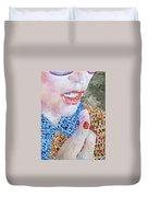 Woman Eating Marshmallow- Oil Portrait Duvet Cover