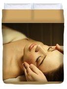 Woman Having A Facial Massage Duvet Cover