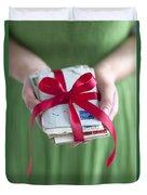 Woman Holding A Bundle Of Love Letters Duvet Cover
