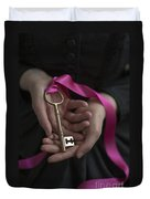 Woman Holding A Golden Key On A Pink Ribbon Duvet Cover