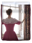 Woman In 18th Century Dress At The Window Duvet Cover