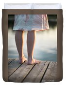Woman In A Dress On The Edge Of A Wooden Board Walk Duvet Cover