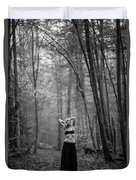 Woman In A Forrest Duvet Cover