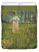 Woman In A Garden Duvet Cover by Vincent van Gogh