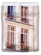 Woman In A Paris Window Duvet Cover