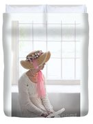 Woman In A Regency Period Empire Line Dress With Straw Bonnet Si Duvet Cover