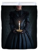 Woman In A Victorian Mourning Dress Holding A Candle Duvet Cover