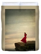 Woman In A Vintage Red Dress On A Windy Clifftop Duvet Cover