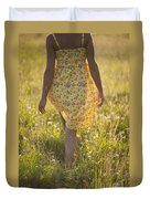 Woman In A Yellow Flowery Dress Walking In A Summer Meadow Duvet Cover