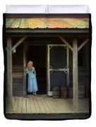 Woman In Cabin Doorway Duvet Cover