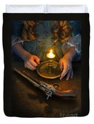 Woman In Historical Gown With Candle And Flintlock Pistol Duvet Cover