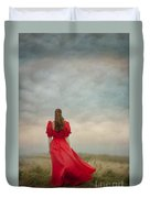 Woman In Red On Moorland Duvet Cover